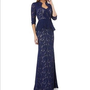 JS collection lace sweetheart neck peplum gown